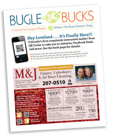 Bugle Bucks coupon mailer we designed and published.