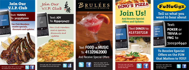 Table tents can help promote your social media and text messaging campaigns.
